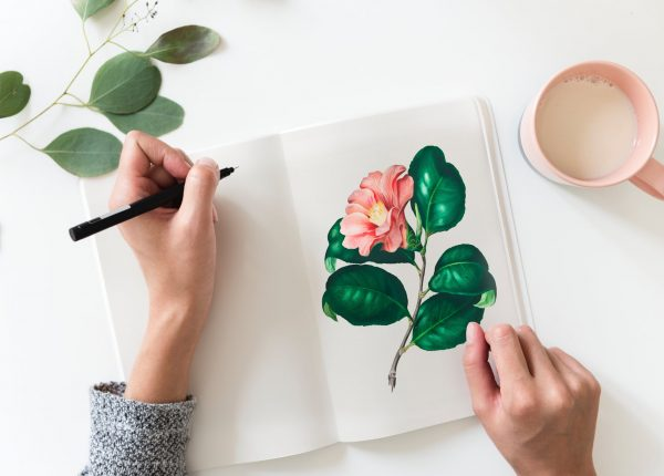 A drawing of a flower with green leaves - Asian Trendy Moms SuperMomGlobal